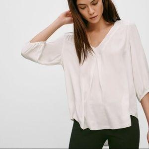 Aritzia Babaton Adrian silk white blouse
